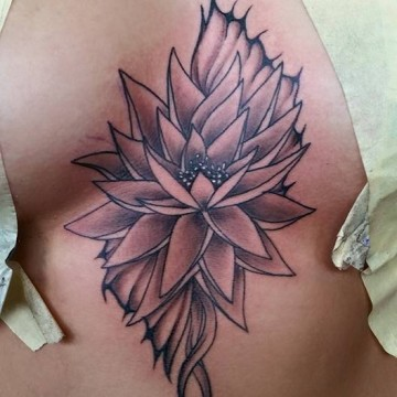 Lotus sternum tattoo by Jhed